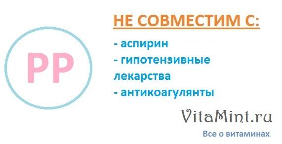 Витамин РР / В3 ниацин никотиновая кислота не совместим