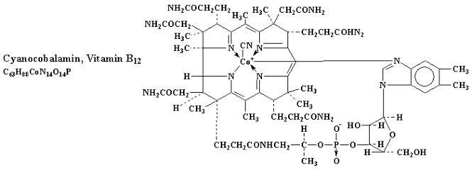 Витамин В12 (цианокобаламин) формула